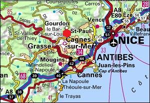 Carte de Bar sur Loup et des Alpes Maritimes
