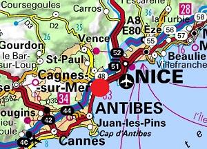 Mappa di Cagnes sur Mer
