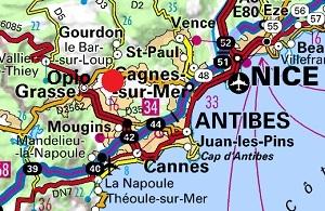 Mappa Opio vicino a Grasse
