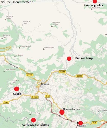 Carte du Pays de Grasse avec les points d'intérêts