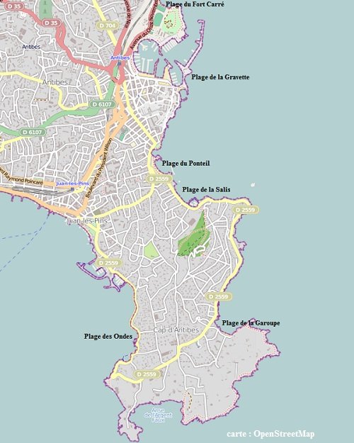 Map of beaches at Antibes