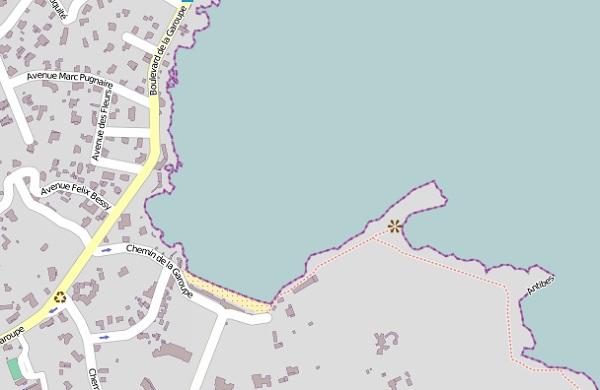 Antibes Garoupe beach map