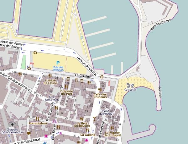 Antibes Gravette beach Map
