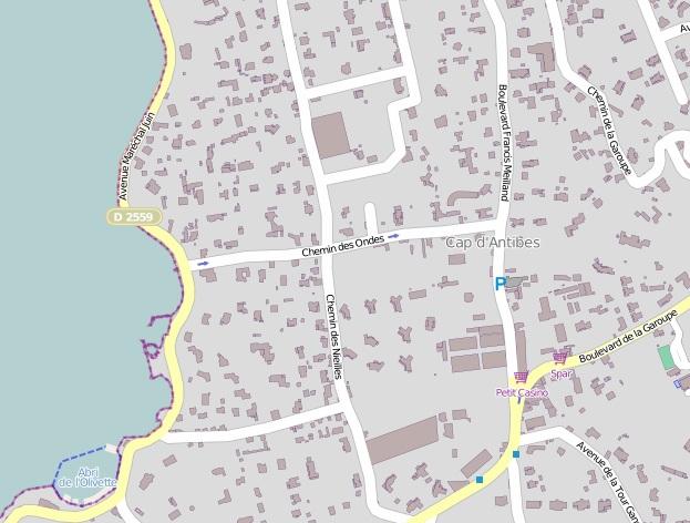 Cap d'Antibes Ondes beach map