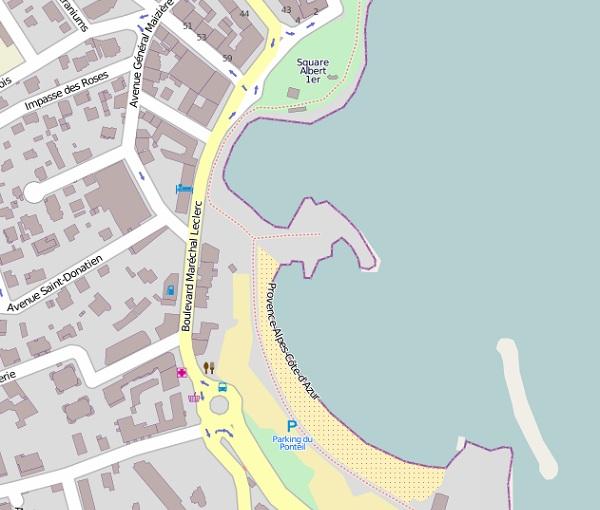 Antibes Ponteil beach map