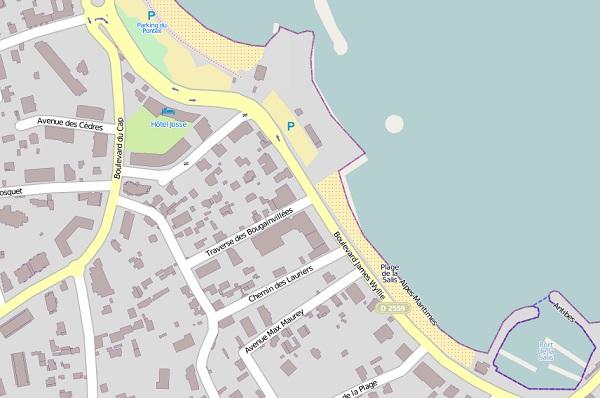 Antibes Salis beach map