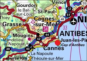 Carte des villes autour du Cap d'Antibes