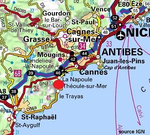 Carte de Théoule sur Mer dans le 06