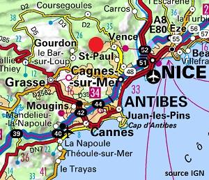 Carte de Tourrettes sur Loup 06