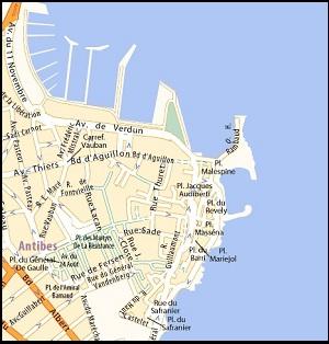 Mappa quartiere storico del Vieil Antibes per trovare un affitto