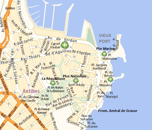 Map of Antibes old town