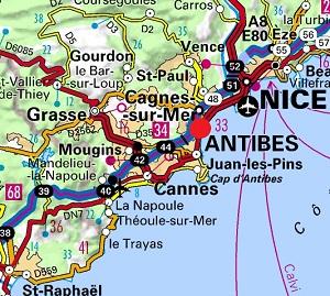 Carte de Villeneuve Loubet