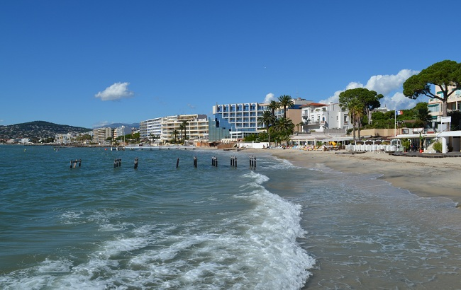 Beach in Juan les Pins in the Pinede area